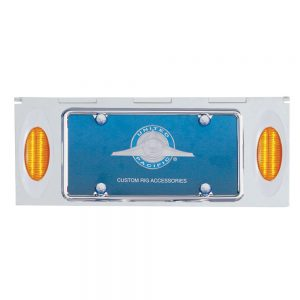 "(BULK) STAINLESS STEEL TWO LICENSE PLATE HOLDER WITH THREE 16 AMBER LED ""PHANTOM I"" LIGHTS - AMBER LENS"