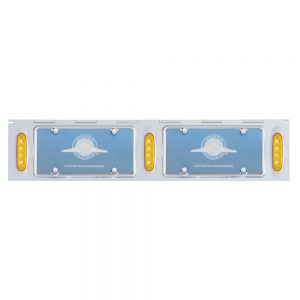 (BULK) STAINLESS STEEL TWO LICENSE PLATE HOLDER WITH THREE 4 AMBER LED REFLECTOR LIGHTS - AMBER LENS