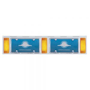 (BULK) STAINLESS STEEL TWO LICENSE PLATE HOLDER WITH THREE 21 AMBER LED RECTANGULAR LIGHTS - AMBER LENS