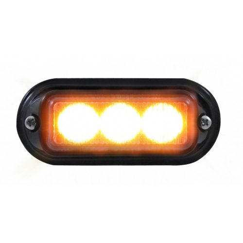 (BOX) 3 LED 12V/24V STROBE LIGHT WITH BLACK BEZEL - AMBER