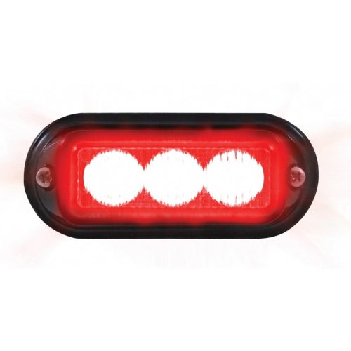 (BOX) 3 LED 12V/24V STROBE LIGHT WITH BLACK BEZEL - RED