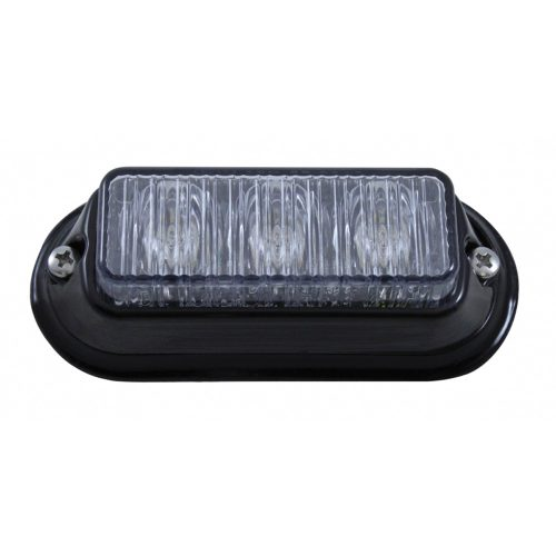 (BOX) 3 LED 12V/24V STROBE LIGHT WITH BLACK BEZEL - WHITE