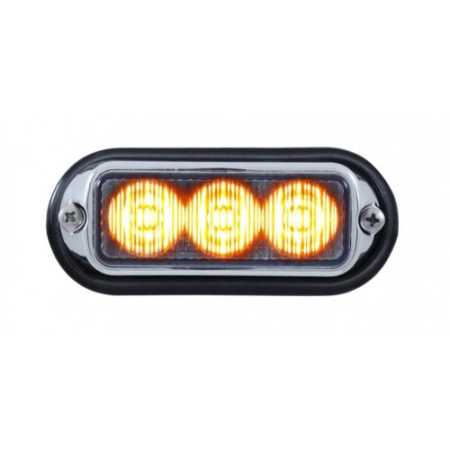 (BOX) 3 LED 12V/24V STROBE LIGHT WITH CHROME BEZEL - AMBER