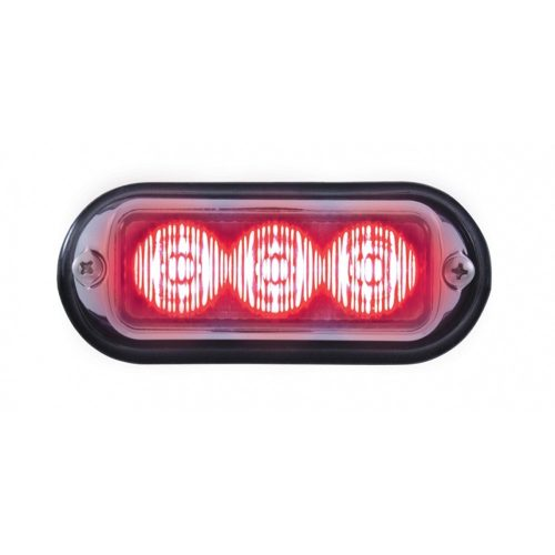 (BOX) 3 LED 12V/24V STROBE LIGHT WITH CHROME BEZEL - RED