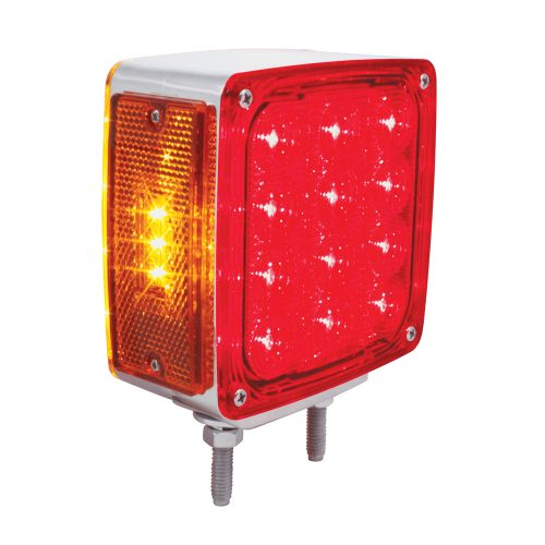 (CARD) 12+3 AMBER /12 RED LED DOUBLE STUD SQUARE DOUBLE FACE TURN SIGNAL LIGHT - DRIVER