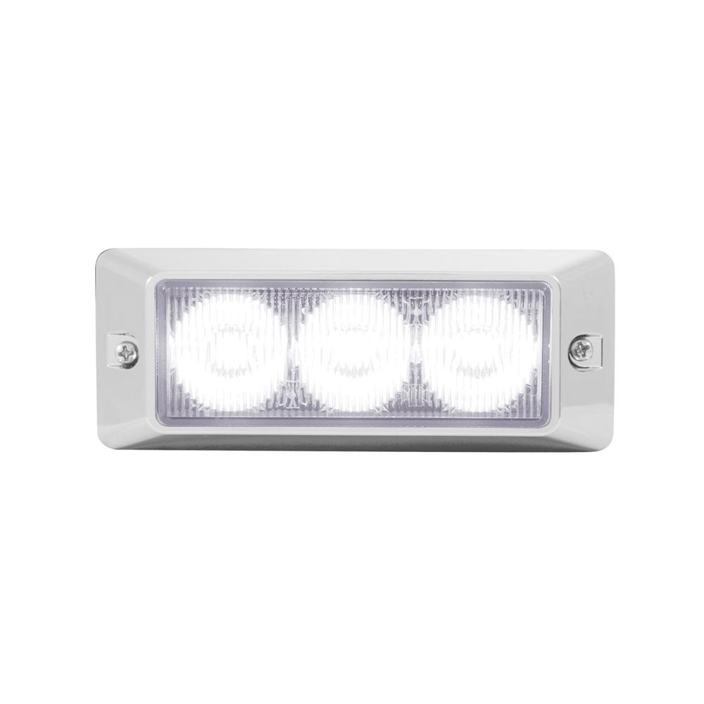 (CBOX) 3 LED 12V/24V STROBE LIGHT - WHITE (12 FLASH PATTERN)