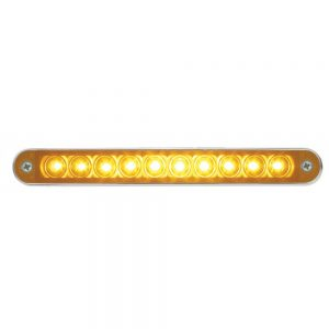"(CARD) 10 AMBER LED 6 1/2"" LIGHT BAR WITH CHROME BEZEL - AMBER LENS"