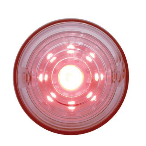 (CARD) 9 RED LED DIAMOND ACCESSORY LIGHT W/ UNIQUE TRANSPARENT DESIGN - CLEAR LENS