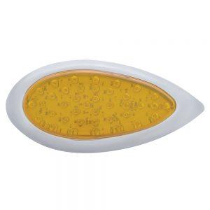 (CARD) 39 AMBER LED TEARDROP P/T/C LIGHT W/ CHROME BEZEL - AMBER LENS