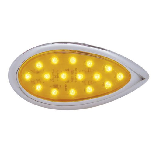 "(CARD) 16 AMBER LED ""TEAR DROP"" CLEARANCE/MARKER LIGHT W/ CHROME BEZEL - AMBER LENS"