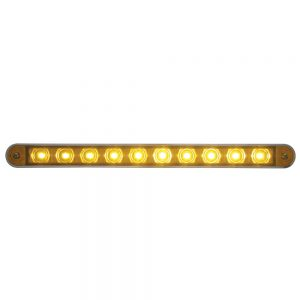 "(CARD) 10 AMBER LED 9"" LIGHT BAR W/ CHROME PLASTIC BEZEL - AMBER LENS"