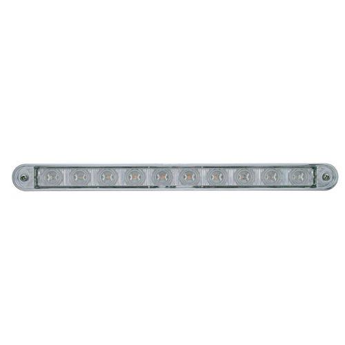 """(CARD) 10 AMBER LED 9"""" LIGHT BAR W/ CHROME PLASTIC BEZEL - CLEAR LENS"""