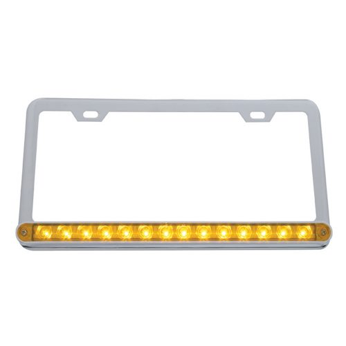 "(CARD) LICENSE FRAME W/ 14 AMBER LED 12"" LIGHT BAR - AMBER LENS"
