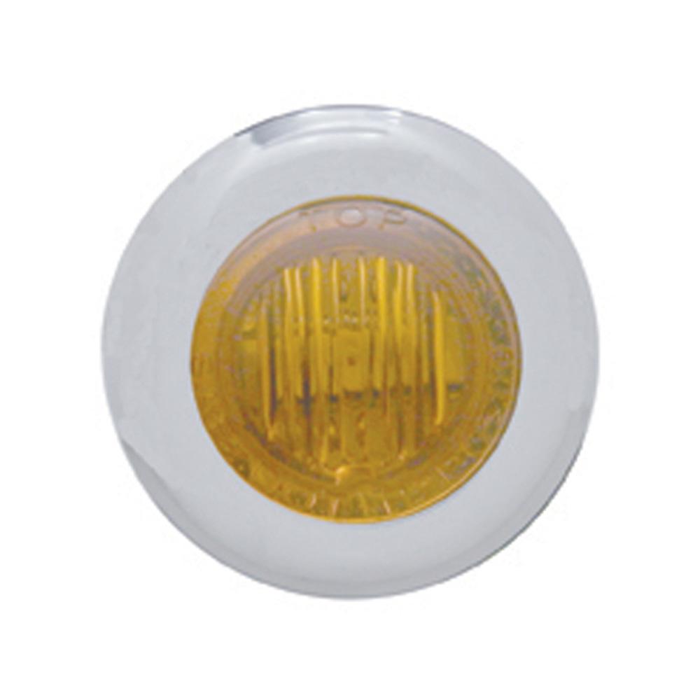 (CARD) STAINLESS STEEL 3 AMBER LED MINI CLEARANCE/MARKER LIGHT - AMBER LENS