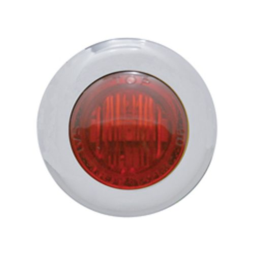 (CARD) STAINLESS STEEL 3 RED LED MINI CLEARANCE/MARKER LIGHT - RED LENS