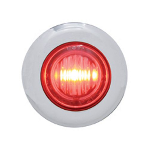 (CARD) STAINLESS STEEL 3 RED LED MINI CLEARANCE/MARKER LIGHT - CLEAR LENS