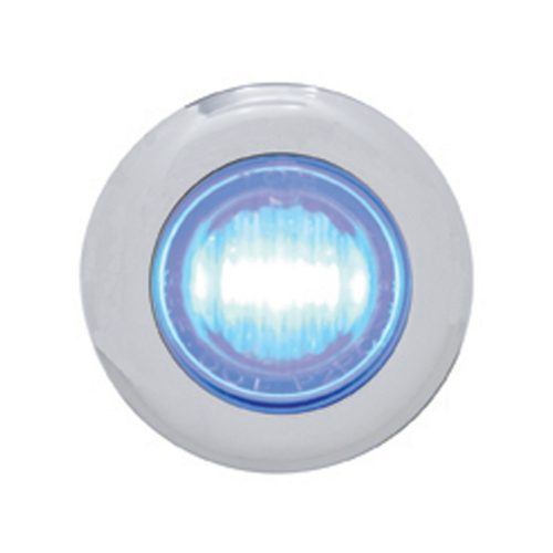 (CARD) STAINLESS STEEL 3 BLUE LED MINI CLEARANCE/MARKER LIGHT - CLEAR LENS