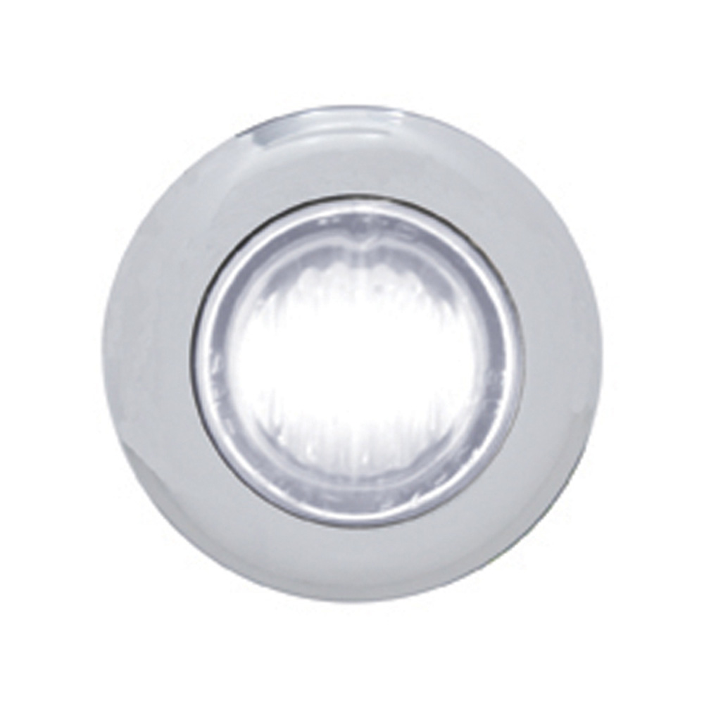 (CARD) STAINLESS STEEL 3 WHITE LED MINI CLEARANCE/MARKER LIGHT - CLEAR LENS