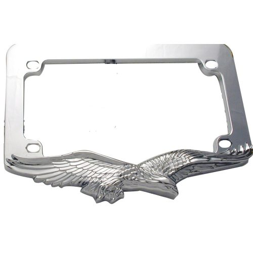 (CARD) MOTORCYCLE CHROME FLYING EAGLE LICENSE FRAME