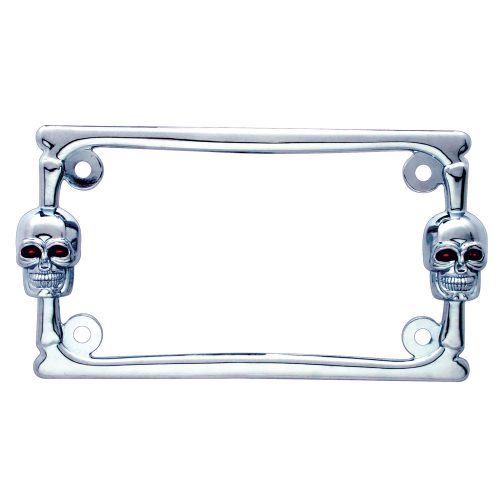 (CARD) CHROME DESIGNER SKULL MOTORCYCLE LICENSE FRAME