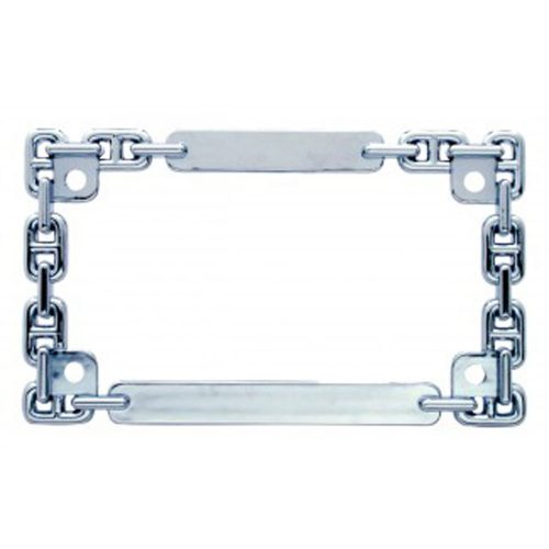 (CARD) CHROME DESIGNER CHAIN MOTORCYCLE LICENSE FRAME