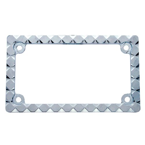 (CARD) CHROME DESIGNER DIAMOND MOTORCYCLE LICENSE FRAME