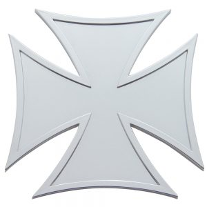 (CARD) CHROME PLASTIC IRON CROSS ACCENT