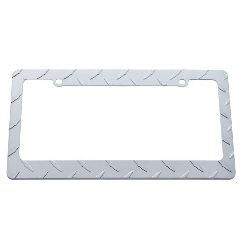 (CARD) CHROME DIAMOND PLATE LICENSE FRAME