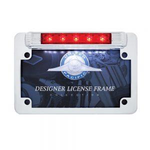 (CARD) MOTORCYCLE CHROME LICENSE PLATE FRAME WITH LED THIRD BRAKE LIGHT AND LED LICENSE LIGHT