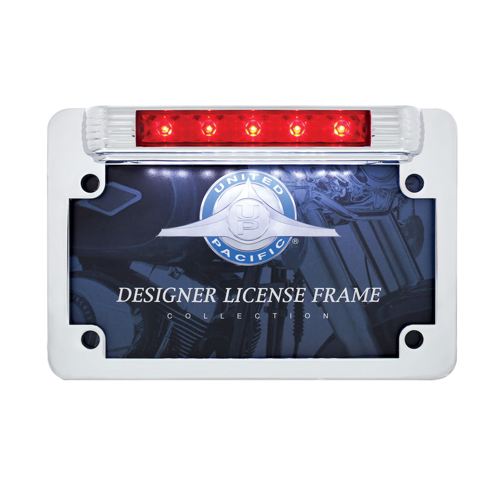 (CARD) MOTORCYCLE CHROME LICENSE PLATE FRAME WITH LED THIRD BRAKE LIGHT AND LED LICENSE LIGHT
