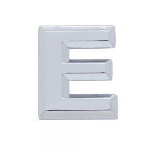 "(CARD) CHROME PLASTIC LETTER - ""E"""