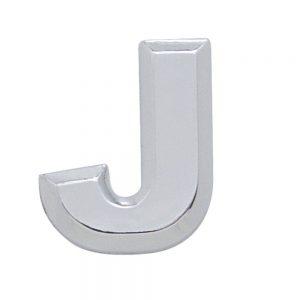 """(CARD) CHROME PLASTIC LETTER - """"J"""""""