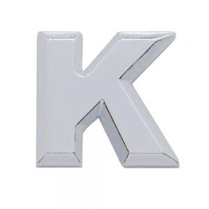 """(CARD) CHROME PLASTIC LETTER - """"K"""""""