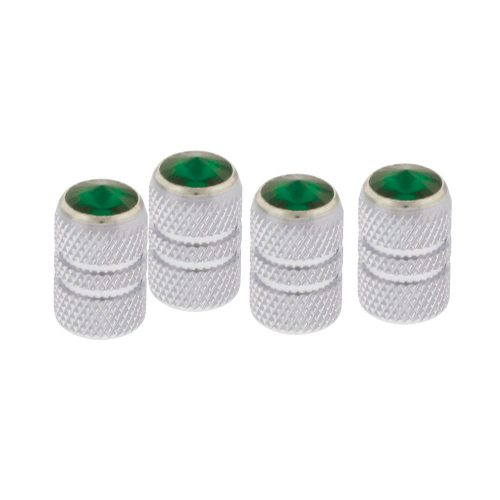 (4/CARD) CHROME TUBULAR VALVE CAPS W/ DIAMOND - GREEN