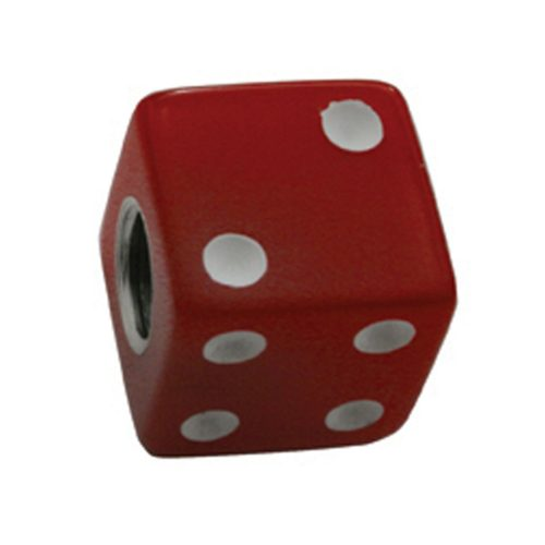 (4/CARD) DICE VALVE CAPS - RED W/ WHITE DOT