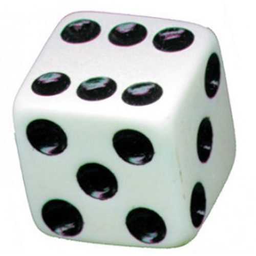 (4/CARD) DICE VALVE CAPS - WHITE W/ BLACK DOT