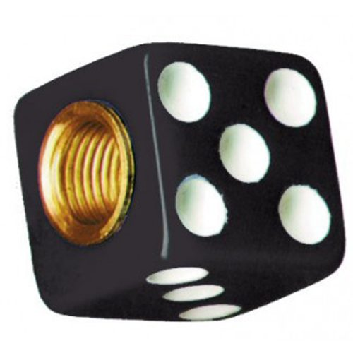 (4/CARD) DICE VALVE CAPS - BLACK W/ WHITE DOT