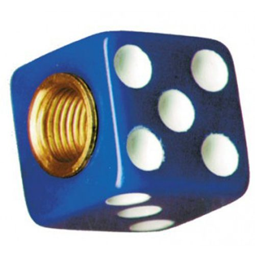 (4/CARD) DICE VALVE CAPS - BLUE W/ WHITE DOT