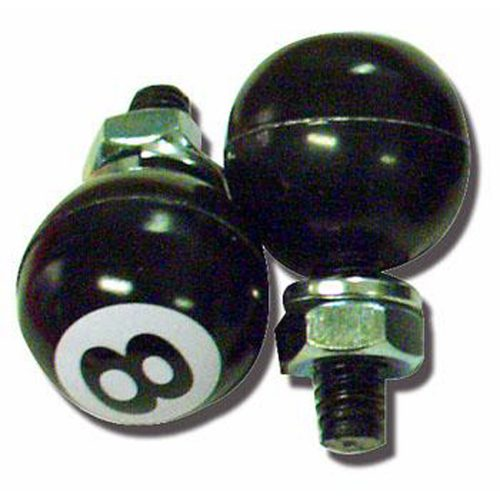 "(2/CARD) BLACK ""8"" BALL LICENSE PLATE FASTENER"