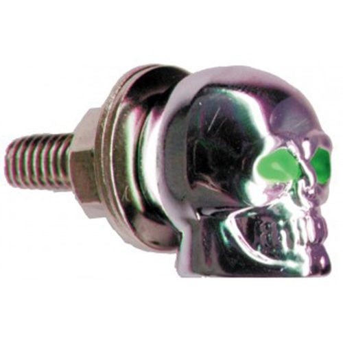 (2/CARD) CHROME PLASTIC SKULL LICENSE PLATE FASTENER