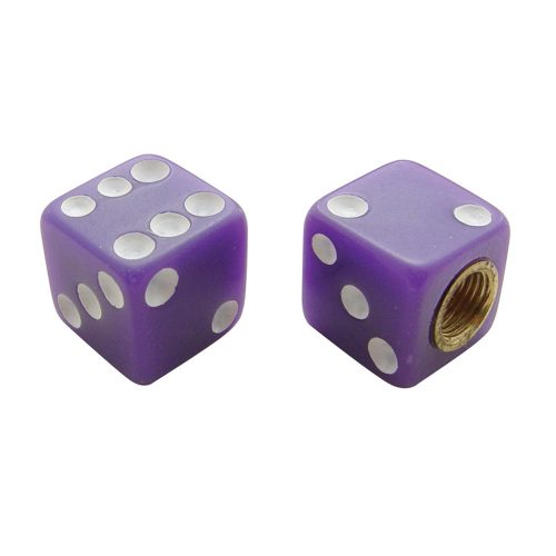 (4/CARD) DICE VALVE CAPS - PURPLE W/ WHITE DOT