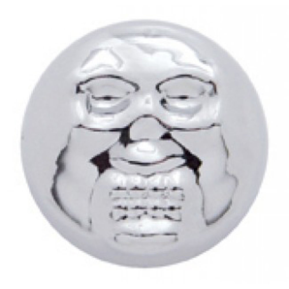 (10/CARD) CHROME PLASTIC SKULL SNAP-ON CAP - SIZE 14/14 SCREW