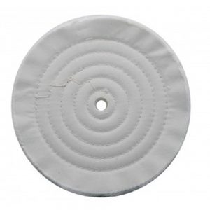 "(CARD) 8"" WHITE SPIRAL & CONCENTRIC SEWED MUSLIN WHEEL - 30 PLY. & 1/2"" ARBOR"