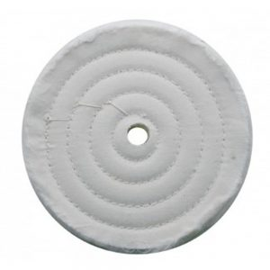 "(CARD) 6"" WHITE SPIRAL & CONCENTRIC SEWED MUSLIN WHEEL - 30 PLY. & 1/2"" ARBOR"