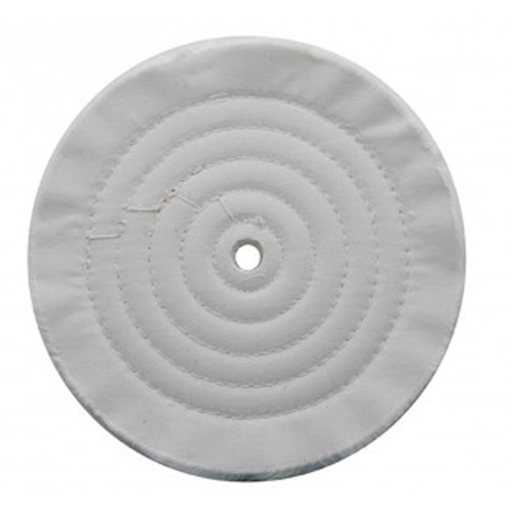 "(CARD) 8"" WHITE SPIRAL & CONCENTRIC SEWED MUSLIN WHEEL - 72 PLY. & 1/8"" ARBOR"