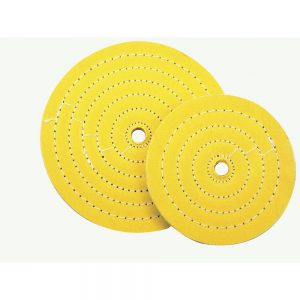 "(CARD) 8"" YELLOW TREATED MUSLIN BUFFING WHEEL"