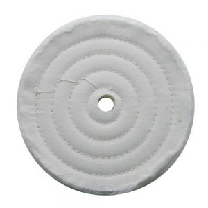 "(CARD) 6"" WHITE SPIRAL & CONCENTRIC SEWED MUSLIN WHEEL - 72 PLY. & 5/8"" ARBOR"
