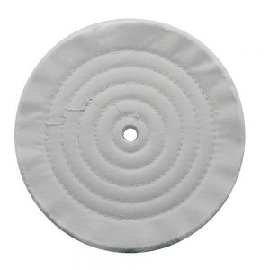 "(CARD) 8"" WHITE SPIRAL & CONCENTRIC SEWED MUSLIN WHEEL - 72 PLY. & 5/8"" ARBOR"