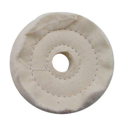 "(PACK) 3"" WHITE SPIRAL & CONCENTRIC SEWED MUSLIN WHEEL - 40 PLY. & 5/8"" ARBOR"