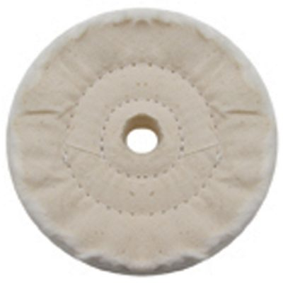"""(PACK) 4"""" WHITE SPIRAL & CONCENTRIC SEWED MUSLIN WHEEL - 40 PLY. & 5/8"""" ARBOR"""